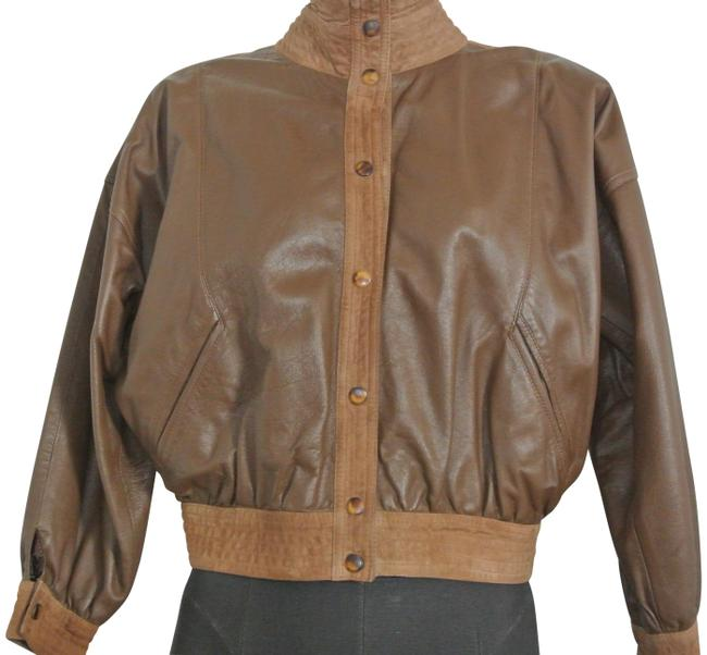 Item - Brown Leather and Suede Bomber Jacket Size 8 (M)