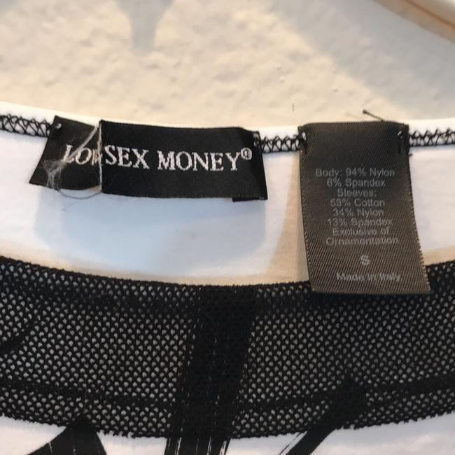 Love Sex Money Mesh Embroidered T Shirt Black/White Image 5