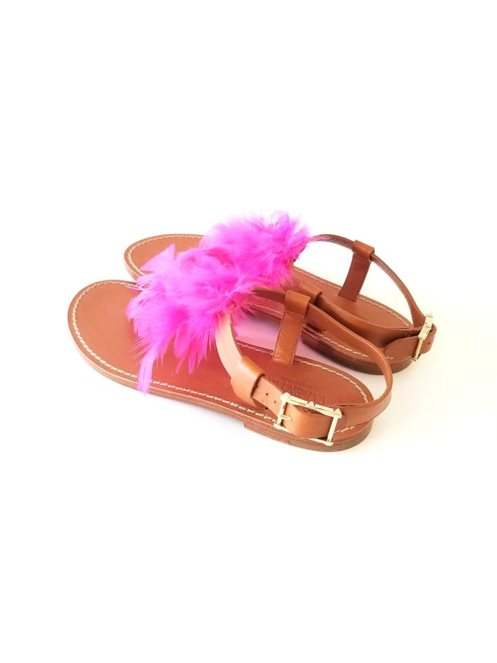 3a747dd46132 Valentino Fuchsia T-strap Feather Sandals Size EU 36 (Approx. US 6) Regular  (M