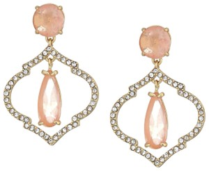 Kate Spade NWT KATE SPADE LANTERN GEMS DROP EARRINGS QUATREFOIL PEACH GOLD TONE