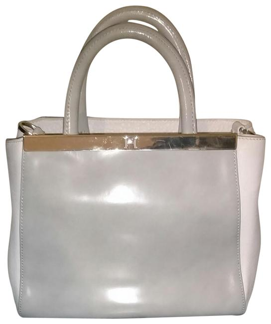 Item - Heritage Hand White and Gray with Gold Hardware Leather Satchel