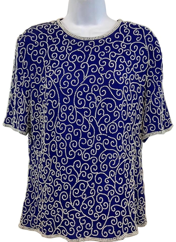 75303032c516b Blue White Pearl Embellished Royal Silk Evening Cocktail M Blouse ...