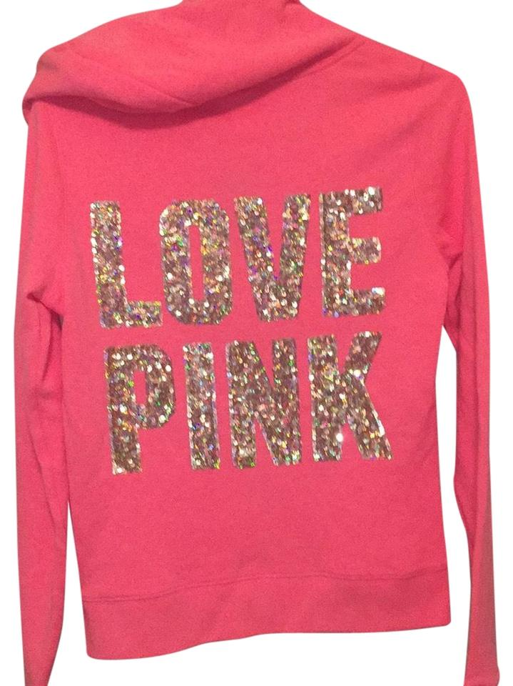 47046f50e5 Victoria s Secret Melon Coral W  Golden Opalescent Rare Pink W  Sequins  Beads Sweatshirt Hoodie