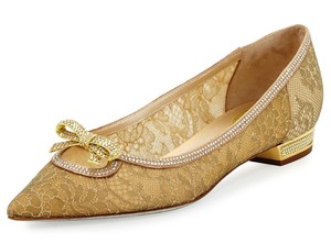 Rene Caovilla Bow Made In Italy Crystal Embellished Holiday Party Luxury Designer Gold Flats