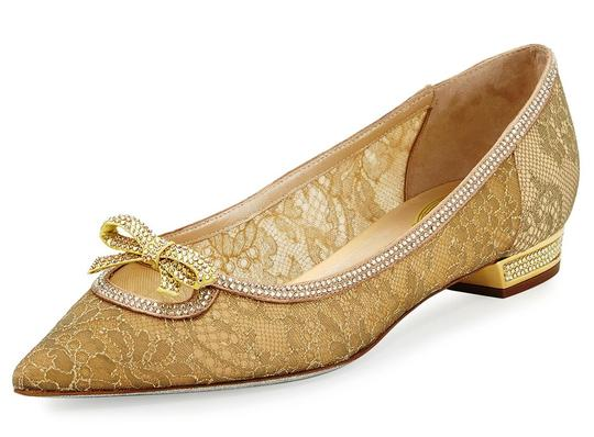 Preload https://img-static.tradesy.com/item/22417442/rene-caovilla-gold-lace-crystal-embellished-pointed-toe-bow-flats-size-eu-385-approx-us-85-regular-m-0-0-540-540.jpg