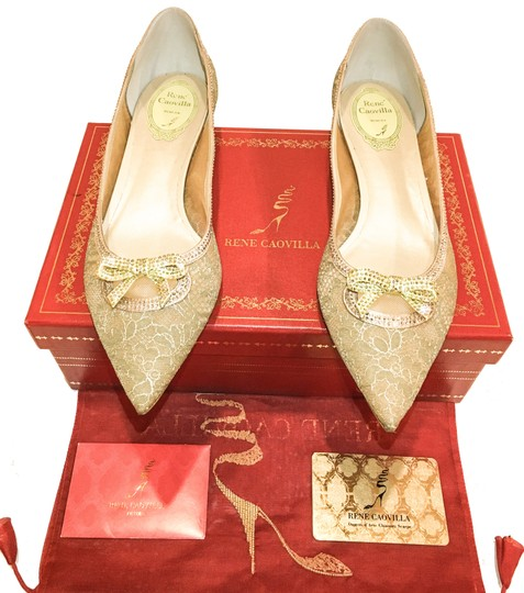 Rene Caovilla Bow Made In Italy Crystal Embellished Holiday Party Luxury Designer Gold Flats Image 1