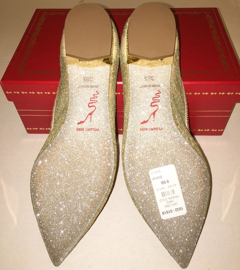 Rene Caovilla Bow Made In Italy Crystal Embellished Holiday Party Luxury Designer Gold Flats Image 10