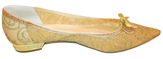 Rene Caovilla Bow Made In Italy Crystal Embellished Holiday Party Luxury Designer Gold Flats Image 3