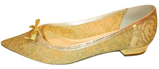 Rene Caovilla Bow Made In Italy Crystal Embellished Holiday Party Luxury Designer Gold Flats Image 4