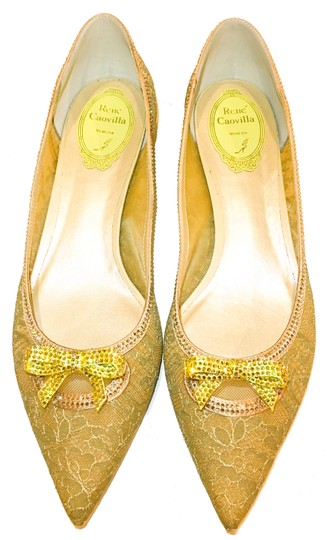 Rene Caovilla Bow Made In Italy Crystal Embellished Holiday Party Luxury Designer Gold Flats Image 5