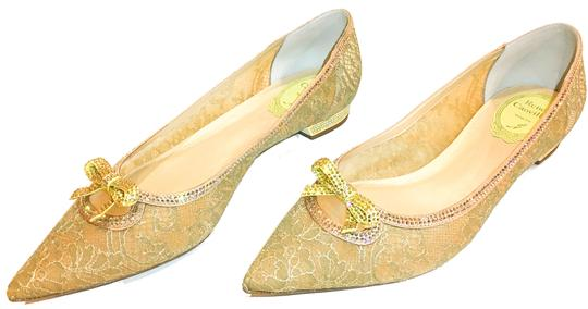 Rene Caovilla Bow Made In Italy Crystal Embellished Holiday Party Luxury Designer Gold Flats Image 6