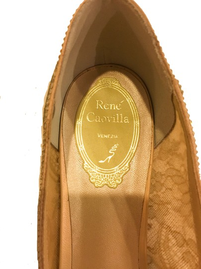 Rene Caovilla Bow Made In Italy Crystal Embellished Holiday Party Luxury Designer Gold Flats Image 8
