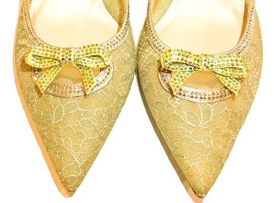 Rene Caovilla Bow Made In Italy Crystal Embellished Holiday Party Luxury Designer Gold Flats Image 9