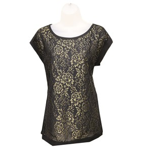 Diane von Furstenberg Silk Scoop Neckline Top Black / Gold