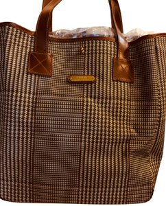 Polo Ralph Lauren Leather Coated Canvas Houndstooth Tote in neutral plaid 58bd3bfc534b1