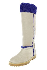 Emporio Armani Suede Winter Fur Knee-high Over The Knee Beige Boots