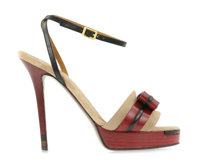 Item - Red Suede and Leather Bow Platform Sandals Size EU 37.5 (Approx. US 7.5) Regular (M, B)