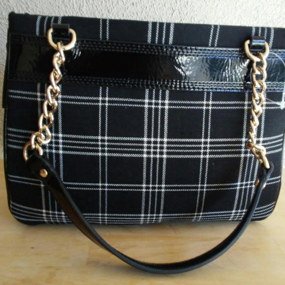 0313474129 Kate Spade Primrose Hill Plaid Darcy Black White Woolen Woven Fabric Satchel  - Tradesy