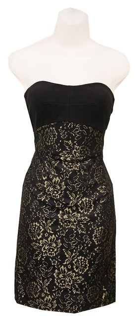 Item - Black / Gold Strapless Underwire Cups Hidden Zipper Mid-length Night Out Dress Size 6 (S)