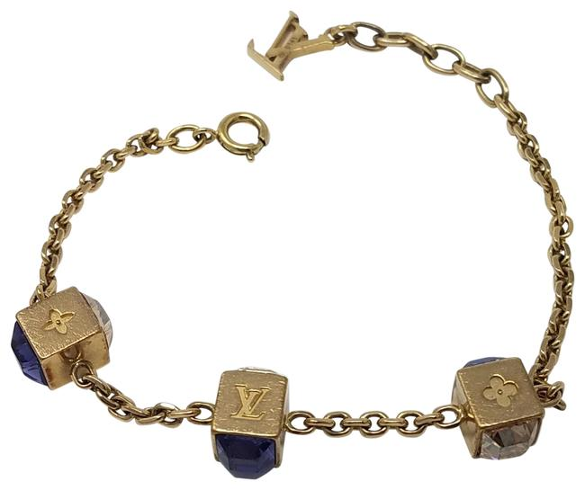 Item - Gold Purple Blue Gold-tone Gamble Lv Crystal Charm Bracelet