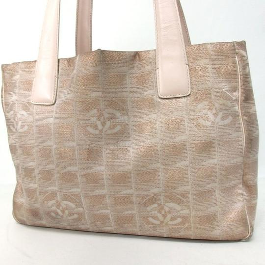 Chanel Travel Line Beige Tote in Taupe/copper Metallic Brown