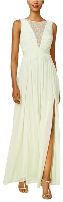 Item - Lime Illusion-lace Open-back Gown Light Key Long Formal Dress Size 12 (L)