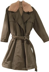 Hache Trenchcoat Lined Fur Collar Coat