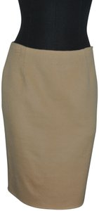 Rebecca Moses Designer Cashmere Pencil Skirt Beige