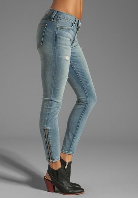 Elizabeth and James Zip Slim Low-rise Distressed Skinny Jeans-Distressed