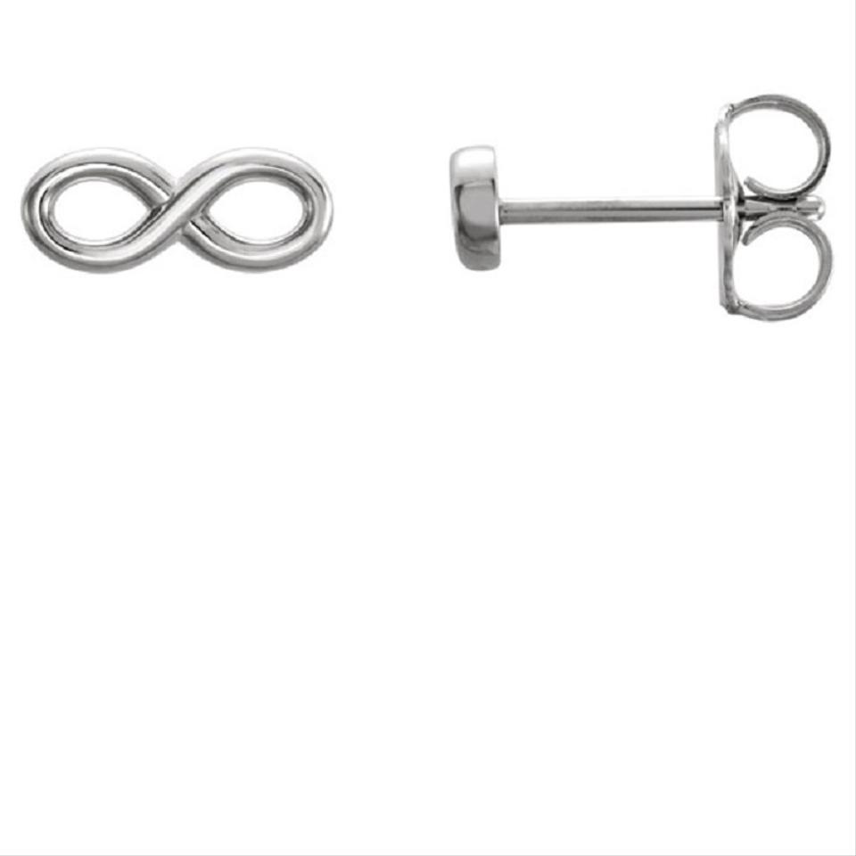 Les Of Gold 14k White Infinity Stud Earrings