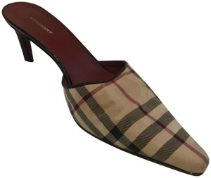 Burberry Fall Canvas Casual Nova Check Pointed Toe Mules