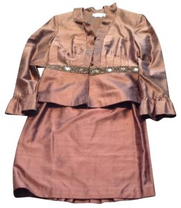 Kay Unger Kay Unheralded Brown Silk Evening Suit
