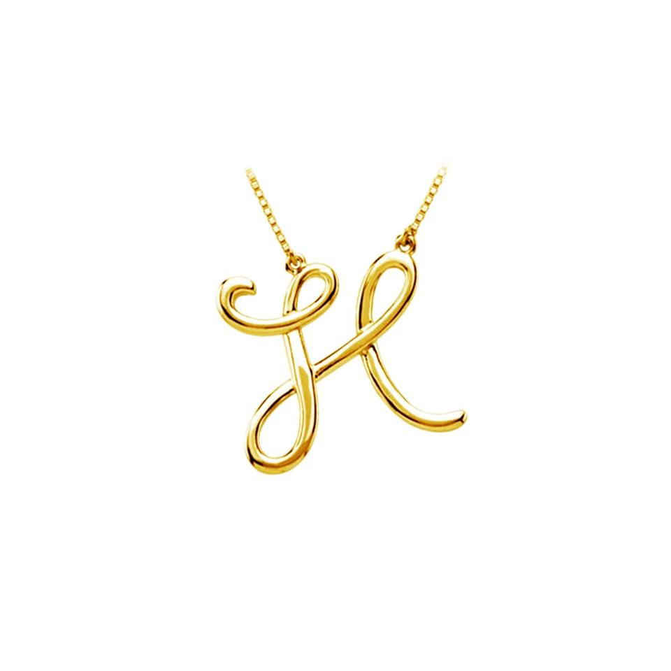 Yellow silver h script letter initial pendant 18k gold vermeil marco b h script letter initial pendant 18k yellow gold vermeil aloadofball Image collections