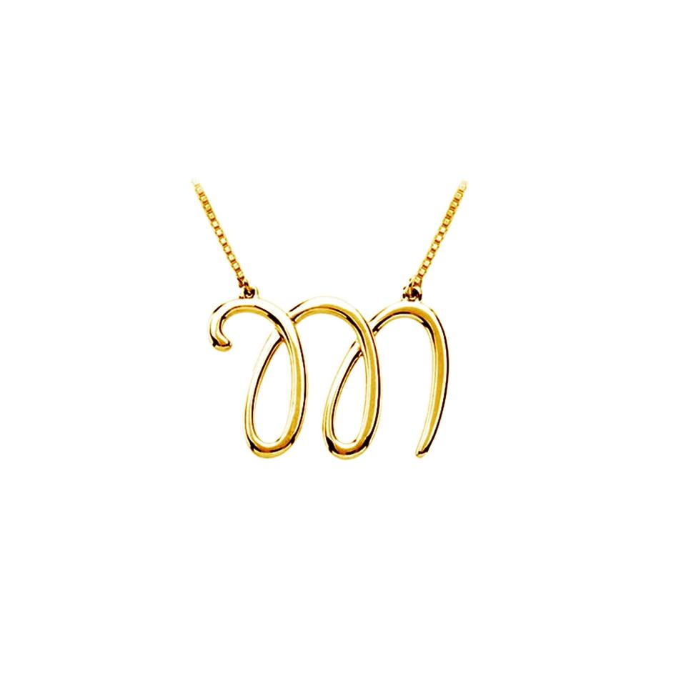 Yellow silver m script letter initial pendant 18k gold vermeil marco b m script letter initial pendant 18k yellow gold vermeil aloadofball Image collections
