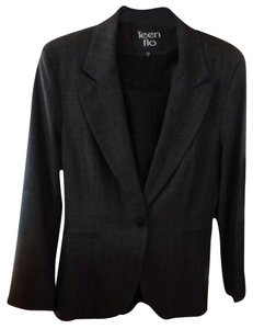 Teenflo Teenflo Fitted Suit Grey With Blue Pinstripes. Very Fine Wool Fabric