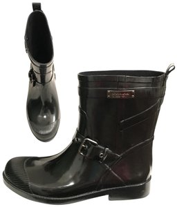 Coach Rain Rubber Galoshes Comfortable New Black Boots