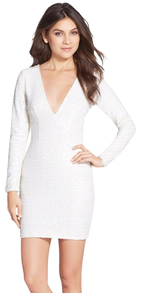 Dress the Population White Sequin Body Con Short Cocktail Dress Size ...