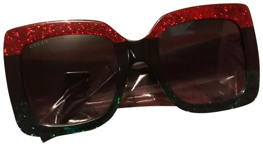 Gucci Black Oversized Red and Green Stripe Sunglasses ...