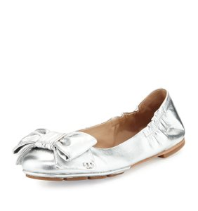 Tory Burch Metallic Bow Silver Flats