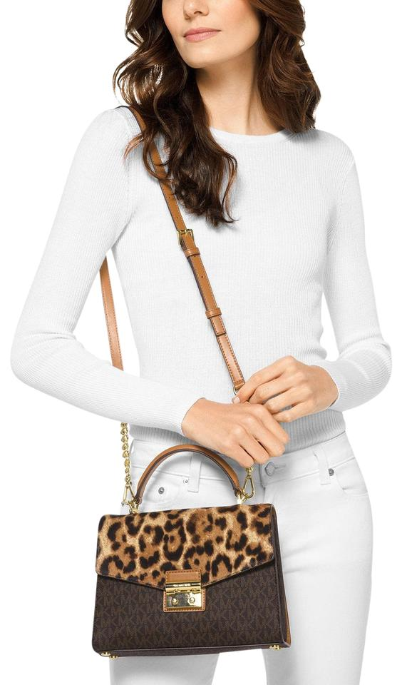 dfbd164f48865 MICHAEL Michael Kors Sloan Calh Hair Leather Top-handle Signature Satchel  in Butterscotch ...