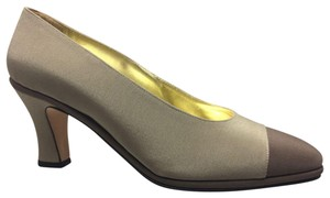 Pancaldi Silk Dressy Two-toned Italian Made Brown and Taupe Pumps