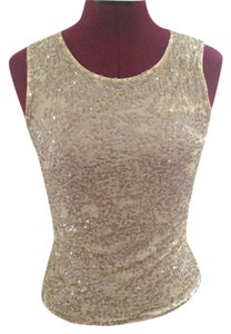 Valentino Sequin Night Out Dancing Date Top Beige