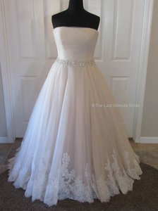 Allure Bridals Champagne/Ivory/Silver Lace 9168 Feminine Wedding Dress Size 18 (XL, Plus 0x)