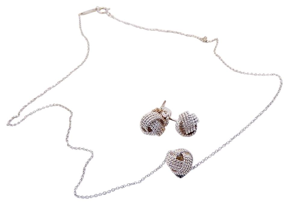 Tiffany Co Twist Knot Earrings Necklace Set In Sterling Silver