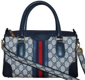 Gucci Made In Italy Monogram Canvas Leather Satchel in Blue