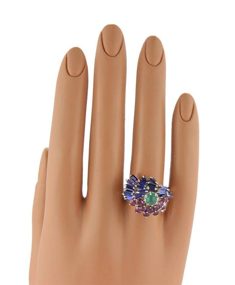 edf9d8177 14583/ Sapphire Ruby & Emerald 18k Gold Cocktail Ring - Tradesy