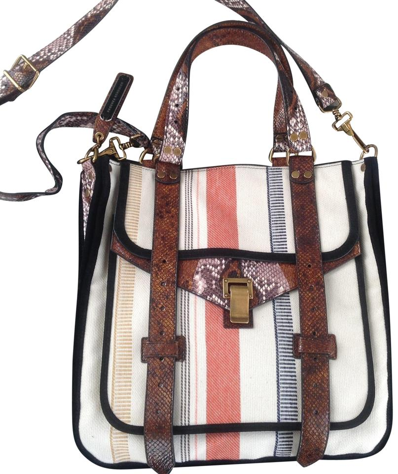 bd57b716e48f33 Proenza Schouler Bag Ps1 Striped Canvas Python Suede Piping Details Tote