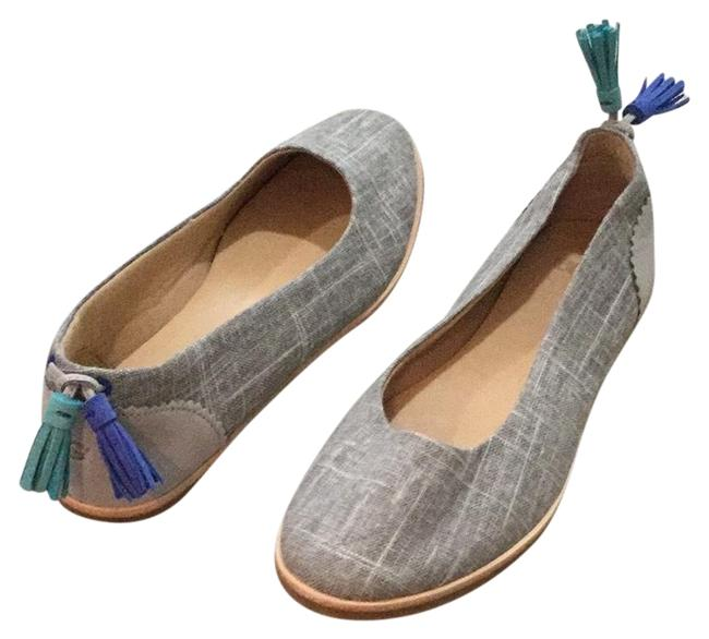 Item - Gray With Blue Green Tassels Flats Size US 7 Regular (M, B)