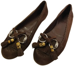 Gucci Horsebit Suede Suede Brown Flats