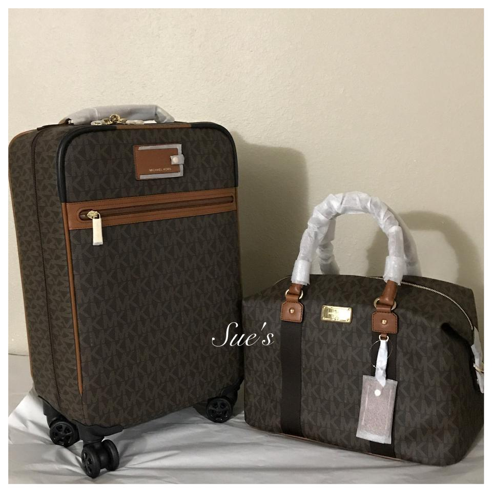 e74cd92e96ea Michael Kors 2pc Mk Jet Set Trolley Luggage & Large Brown Weekend ...